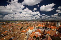 Sibiu romania skyline aerial.