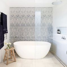 Bathroom Bliss by featuring our Moroccan Inspired Pennelli Tiles. Budget Bathroom, Bathroom Renovations, Bathroom Ideas, Bathrooms, Tropical Bathroom, Morrocan Tiles Bathroom, Stone Look Tile, Stone Bath, Italian Tiles