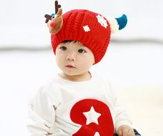 25268007887 2016 new Knitted Baby Deer Caps Boys Girls Toddler Crochet Beanie Baby Hat  Cute Warm Winter Hat Christmas Gift For Gril Boy