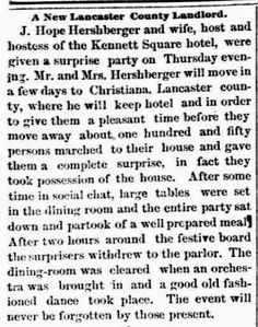 Genealogical Gems: On This Day: Hershbergers keep hotel in Christiana...