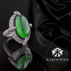 The beauty of Jadeite surrounded by the black onyx and white diamonds... The joy of seeing my creation come to life.  @karen.suen