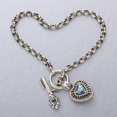 Torello 1.25 CT Blue Topaz Heart Bracelet | AtAuction.com