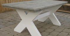 tafel grijs beitsen onderkant wit schilderen