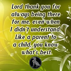 Lord thank you for always being there for me, even when I didn't understand. Like a parent to a child, you know what's best.