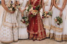 Indian wedding dresses + beautiful bouquets