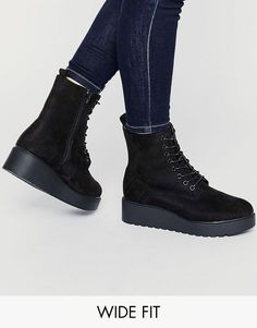 Image 1 ofNew Look Wide Fit Lace Up Platform Boot