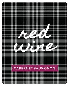 Be the perfect holiday guest with this printable wine bottle label template. Design features a black background with white plaid stripes and room for text. Bring as a host/hostess gift or set out on the table at your own party! Customize with the type and name of your specific wine or event details. Template by Lia Griffith.