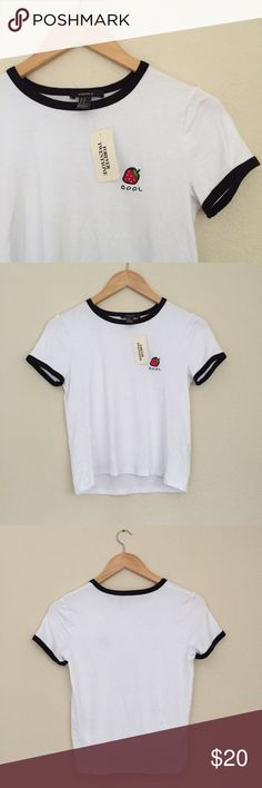 Embroidered Strawberry Graphic Tee *Not Brandy, listed for exposure! Make an offer!  TAGS ✨ boho indie grunge embroidered embroidery fruit strawberry forever 21 tumblr kawaii graphic t-shirt tee Brandy Melville Tops Tees - Short Sleeve