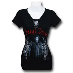 """Pretty sure I have some friends that """"need"""" the """"D"""" shirt.... ~AMO Walking Dead Daryl Wings Lace-Up Women's T-Shirt"""