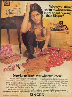 1972 Print Advertisement Ad Singer Sewing Machine Teen age sewing - Advintage Plus