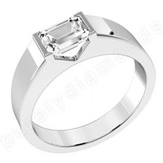 inset emerald cut diamond ring