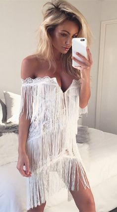 fashion off the shoulder cocktail dress with tassel, sexy white tassel short party dress #Cocktaildresses
