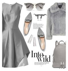 """""""Greyscale"""" by pensivepeacock ❤ liked on Polyvore featuring Halston Heritage, Nicholas Kirkwood, Topshop, Gucci, Michael Kors and Anja"""