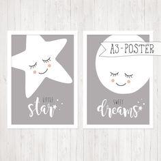 Drucke & Plakate - A3-Poster, 2er-Set, Stern & Mond, grau - ein Designerstück von ngmSTYLE bei DaWanda