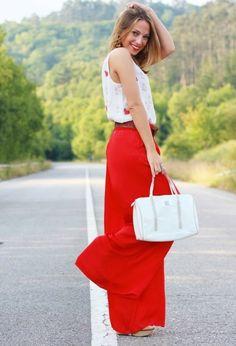pantalon fluide rouge super large