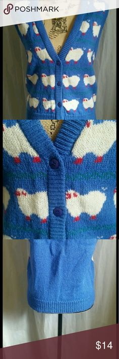 Whimsical Vintage Wool Sweater Vest Adorable sweater vest in 100% Shetland wool.  Bright blue with whimsical sheep print on front (solid blue in back). Vintage 70's or 80's. Size M Vintage Jackets & Coats Vests