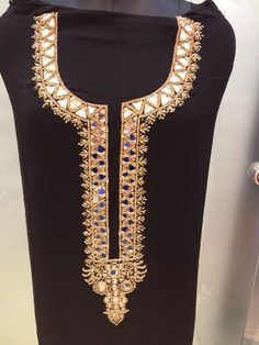 mirror & gold on back. that can never go wrong! Hand Embroidery Dress, Hand Embroidery Designs, Iranian Women Fashion, Indian Fashion, Dress Neck Designs, Blouse Designs, Mirror Work Dress, Kurtha Designs, Blouse Patterns