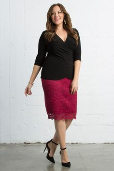 What's more romantic than a pink floral lace in a classic silhouette? Nothing, and our plus size Loren Lace Skirt proves it. Shop our entire made in the USA collection and see more style inspiration online at www.kiyonna.com.