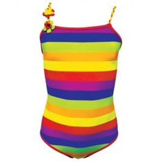 Jakabel Sunshine Rainbow Swimsuit  UV50+ sun protection Rainbow design swimsuit made in top quality nylon/lycra mix fabric which blocks 97.5% of the sun's harmful UVA/UVB rays. Ages from 2-3y to 8-9y. Now at LAFF Kids Clothes in store and online. laffkidsclothes.co.uk