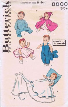 Original Vintage Doll Clothes Pattern Buterick by BlondiesSpot, $25.99