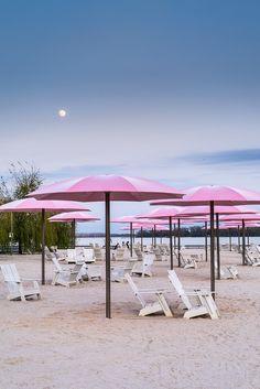 Moon And Umbrellas Panasonic Gx1 Lumix14 140 25 1 Pink Beachbeach