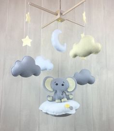 Elephant mobile - Elephant, sun and stars mobile- baby mobile- nursery mobile- ceiling mobile - custom colors available!