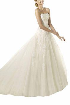 GEORGE BRIDE Elegant Bandeau Prinzessin Tuell Spitze Hof-Schleppe Lang Brautkleider Hochzeitskleider, Groesse 34, Elfenbein