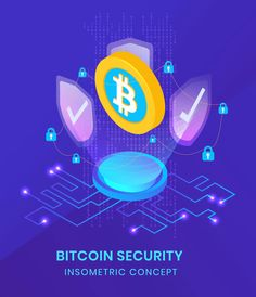 Bitcoin Security - Insometric Vector Illustration Isometric Design, Vector Graphics, Vector Design, Mobile App, Banner, Concept, Templates, Illustration, Banner Stands