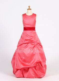 Robes+de+demoiselle+d'honneur+-+junior+-+$108.99+-+Forme+Princesse+Col+rond+Longueur+au+sol+Satiné+Robe+de+demoiselle+d'honneur+-+junior+avec+Plissé+Ceintures+(009016223)+http://jenjenhouse.com/fr/Forme-Princesse-Col-Rond-Longueur-Au-Sol-Satine-Robe-De-Demoiselle-D%E2%80%99honneur-Junior-Avec-Plisse-Ceintures-009016223-g16223