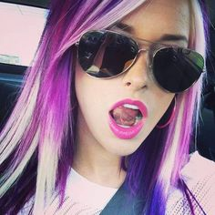 Platinum blonde with purple chunky highlights so cute..
