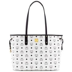 MCM Medium Reversible Shopper ($690) ❤ liked on Polyvore featuring bags, handbags, tote bags, apparel & accessories, white, white leather purse, white tote, leather handbags, shopping tote and white leather handbags