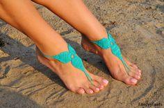 Crochet Green Barefoot SandalsFoot jewelry by FancyyFeets on Etsy