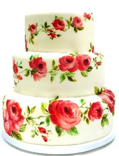 A painted wedding cake with roses...ummmm...I had this same cake made for my Mother's 80th birthday party..