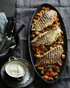 Grilled snapper fillets with spiced sweet potato salad and yoghurt
