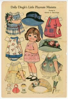 Trips of the World & Friends - Uncut Dolly Dingle Paper Dolls by Grace G Drayton Old Paper, Paper Art, Paper Crafts, Paper Dolls Printable, Kewpie, Vintage Paper Dolls, Doll Crafts, Doll Toys, Dolls Dolls