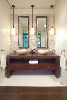 Muskoka Cottage - contemporary - bathroom - toronto - Studio H Design Bathroom Hanging Lights, Bathroom Pendant Lighting, Bathroom Vanity Lighting, Pendant Lights, Bathroom Fixtures, Ceiling Hanging, Pendant Lamps, Bathroom Sink Design, Bathroom Interior Design
