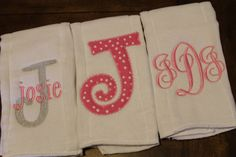 Set of 3 monogrammed/appliqued burp cloths-baby boy baby girl gift-baby…