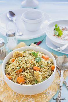 Paaka-Shaale: South Indian Style vegetable Pulao with Radish Raita
