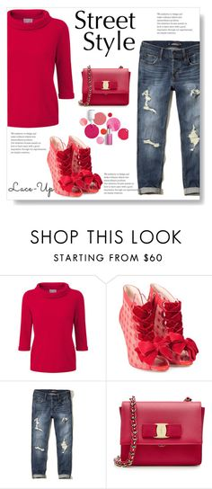 """""""Fun Lace-Up Boots"""" by juliehalloran ❤ liked on Polyvore featuring Sophia Webster, Hollister Co., Salvatore Ferragamo and Clinique"""