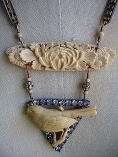 I'm Like a Bird, I'll Only Fly Away Repurposed Necklace made from old broken bits of jewelry