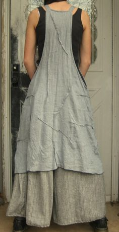 The queen of aprons, textured with small random tucks, grey linen.