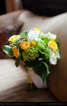 pretty green and yellow flower bouquet for bride Jacquelina