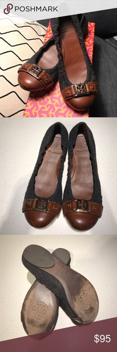 Tory Burch Ambrose gray wool brown leather flat Tory Burch Ambrose gray  wool brown leather gold