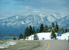 The drive into Polson, Mt in the winter