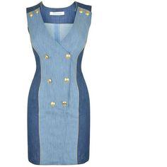 Pierre Balmain Denim Button Down Mini Dress ($450) ❤ liked on Polyvore featuring dresses, denim blue, denim button up dress, blue dress, v neck dress, v neck short dress and short dresses