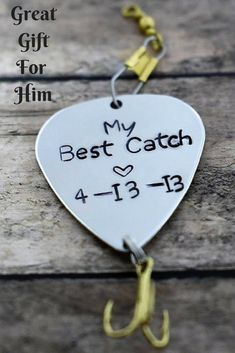 """Handmade Stamped Fishing Lure - """"My Best Catch"""" *Fisherman*Personalized Lure**Valentine's Gift**Gift for Him*Anniversary Gift**Father's Day* #ad"""