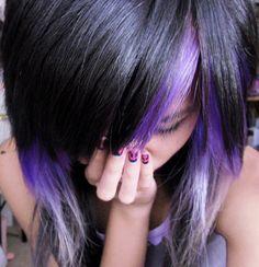 I think Im secretly an emo. I ♥ their hair. Funky Hairstyles, Pretty Hairstyles, Purple Hair, Purple Streaks, Purple Highlights, Purple Tips, Purple Ombre, Hair Highlights, Ombre Hair