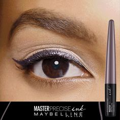 Master Precise Ink™ Metallic Liquid Liner. Long lasting, waterproof eyeliner with a smart-tip brush. The bold and reflective finish delivers brilliant metallic definition.  From Solar Gold and Cosmic Purple to Black Comet and Galactic Metal, ink your eyes in high-impact color with up to 24-hour metallic intensity. This metallic liquid eyeliner is smudge-proof and waterproof.