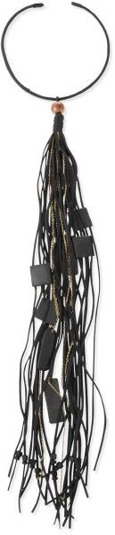 Donna Karan Leather Choker Necklace with Long Tassel, Black - Google Search