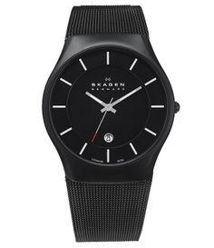 Elegantné čierne pánske hodinky s minimalistickým dizajnom, značka Skagen. http://www.1010.sk/p/hodinky-skagen-956xltbb/
